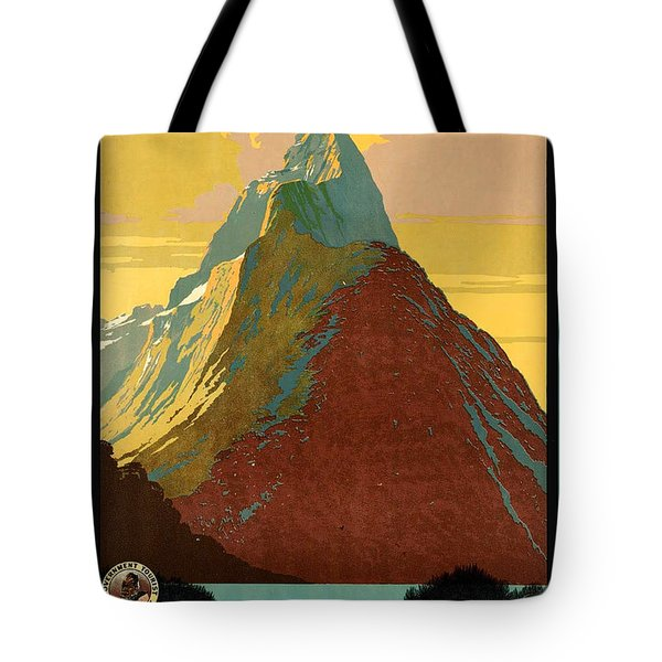 Vintage New Zealand Travel Poster Tote Bag by George Pedro