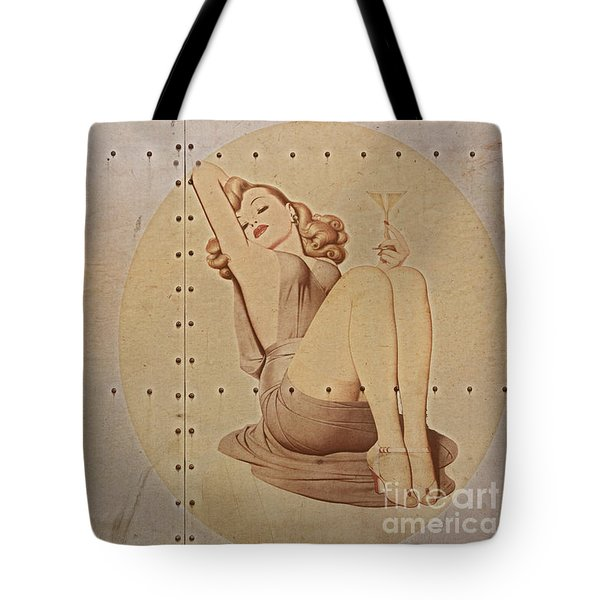 Vintage Nose Art Naughty Nadine Tote Bag by Cinema Photography