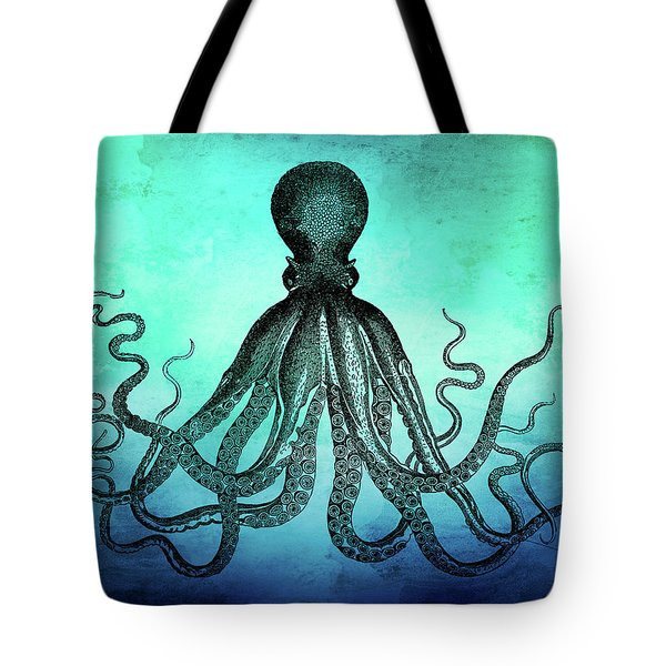 Vintage Octopus On Blue Green Watercolor Tote Bag