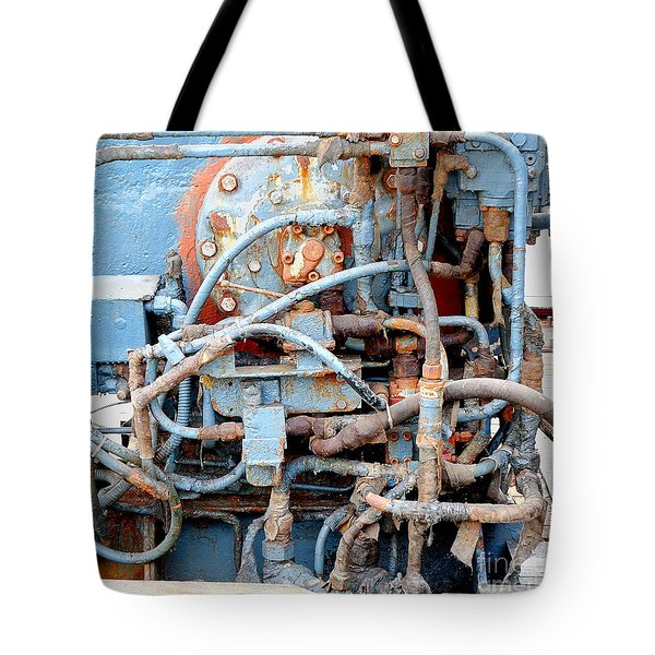 Tote Bag featuring the photograph Vintage Old Diesel Engine On A Ship by Yali Shi