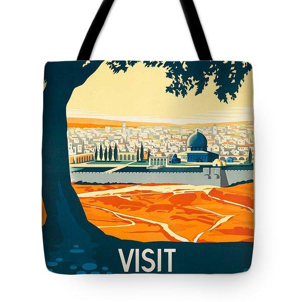 Vintage Palestine Travel Poster Tote Bag by George Pedro