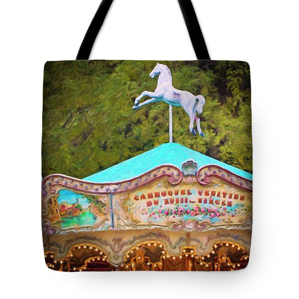Tote Bag featuring the photograph Vintage Paris Carousel by Melanie Alexandra Price