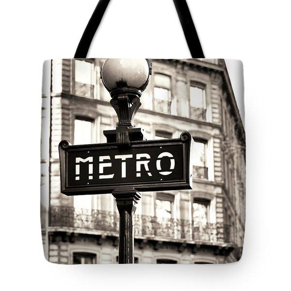 Vintage Paris Metro Tote Bag by John Rizzuto