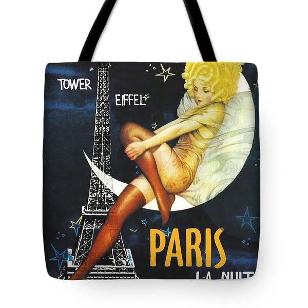 Vintage Paris Moon Tote Bag