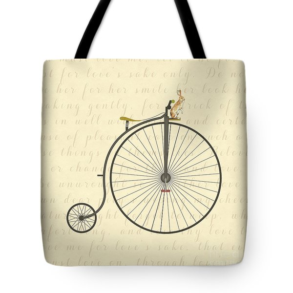 Vintage Penny Farthing Bunny Tote Bag