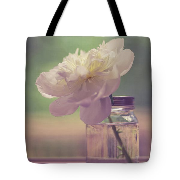 Tote Bag featuring the photograph Vintage Peony Flower Still Life by Edward Fielding
