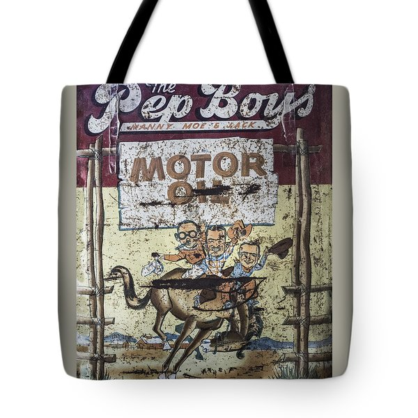 Vintage Pep Boys Sign Tote Bag