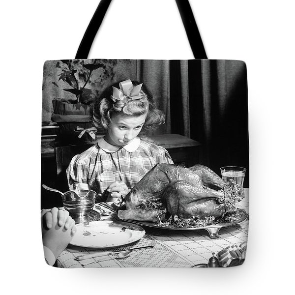 Vintage Photo Depicting Thanksgiving Dinner Tote Bag