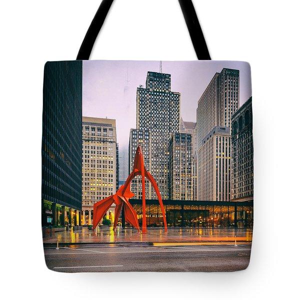 Vintage Photo Of Alexander Calder Flamingo Sculpture Federal Plaza Building - Chicago Illinois  Tote Bag