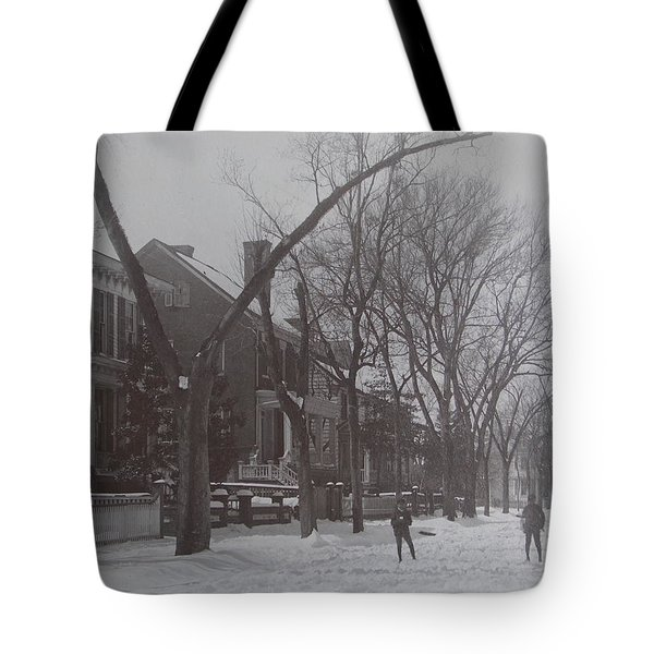 Vintage Photograph 1902 Snowball Fight New Bern Nc Tote Bag