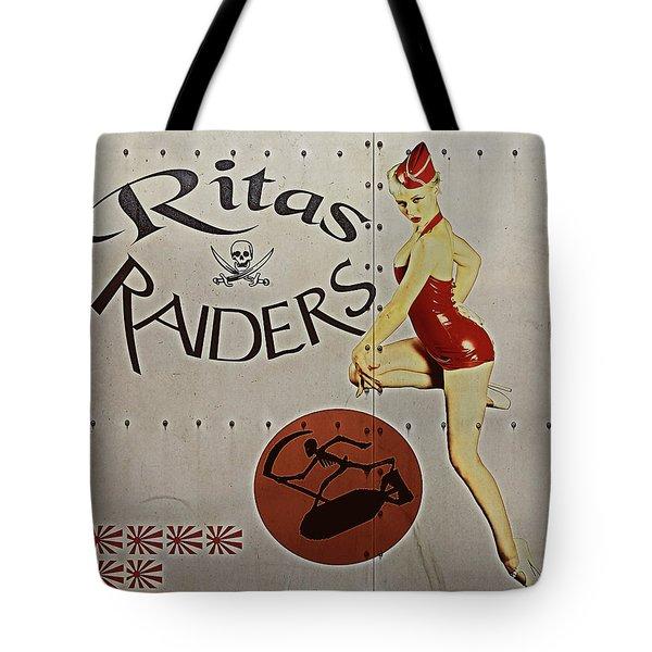 Vintage Pinup Nose Art Ritas Raiders Tote Bag by Cinema Photography