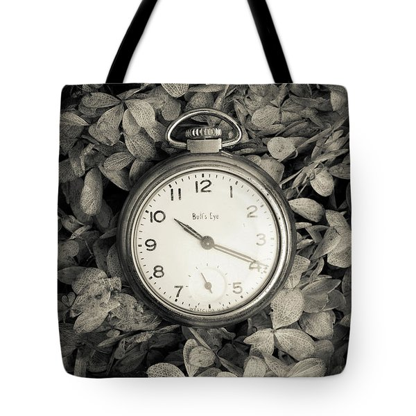 Tote Bag featuring the photograph Vintage Pocket Watch Over Flowers by Edward Fielding