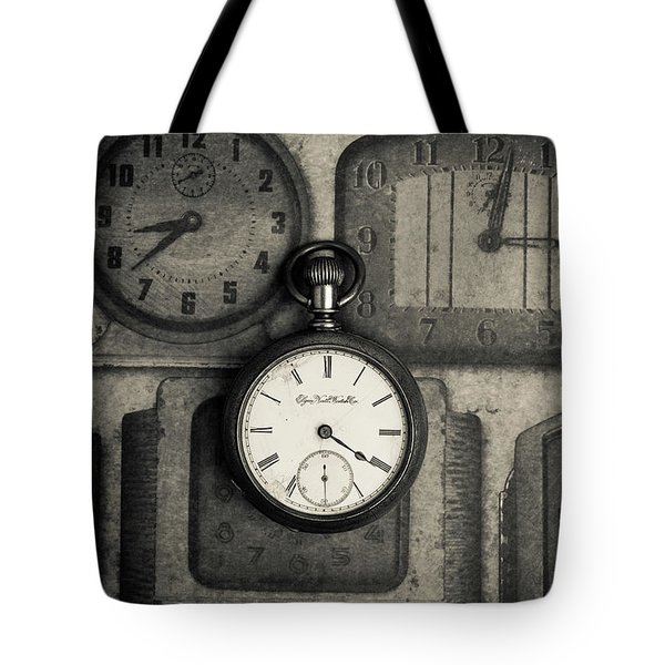 Tote Bag featuring the photograph Vintage Pocket Watch Over Old Clocks by Edward Fielding