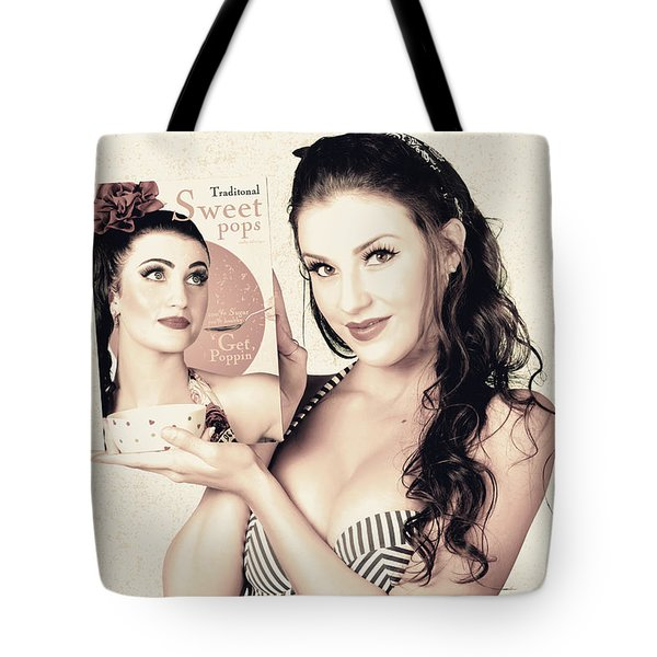 Vintage Pop Art Advert Girl With Breakfast Product Tote Bag