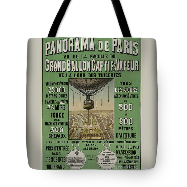 Tote Bag featuring the photograph Vintage Poster Of Great Balloon View Of Paris 1878 by John Stephens