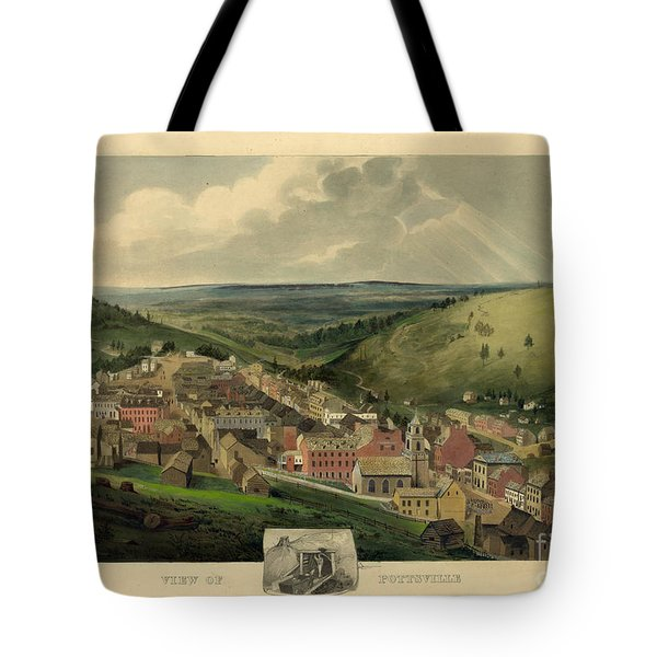 Tote Bag featuring the photograph Vintage Pottsville Pennsylvania Etching With Remarque by John Stephens