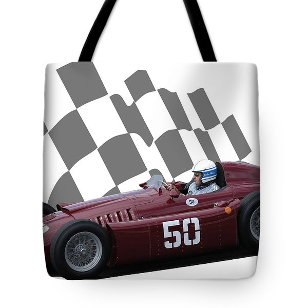 Vintage Racing Car And Flag 1 Tote Bag