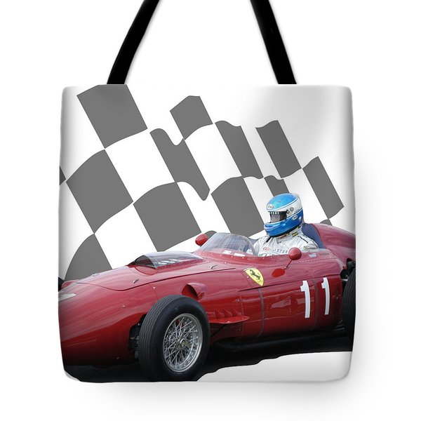 Vintage Racing Car And Flag 2 Tote Bag
