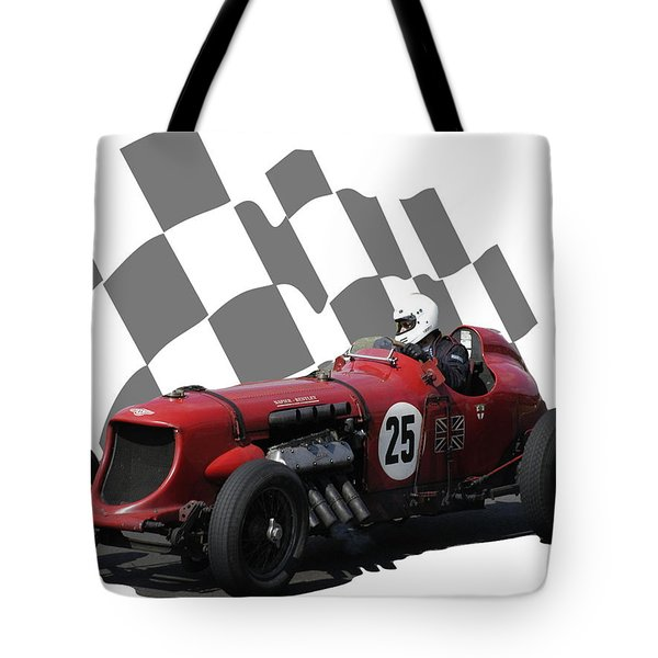 Vintage Racing Car And Flag 3 Tote Bag