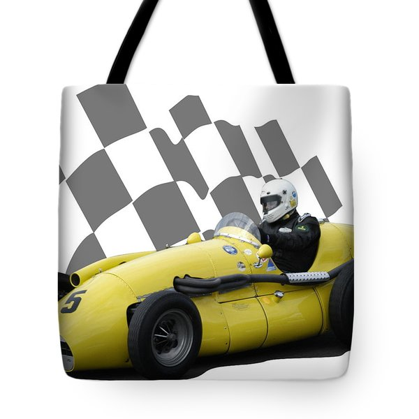 Vintage Racing Car And Flag 4 Tote Bag