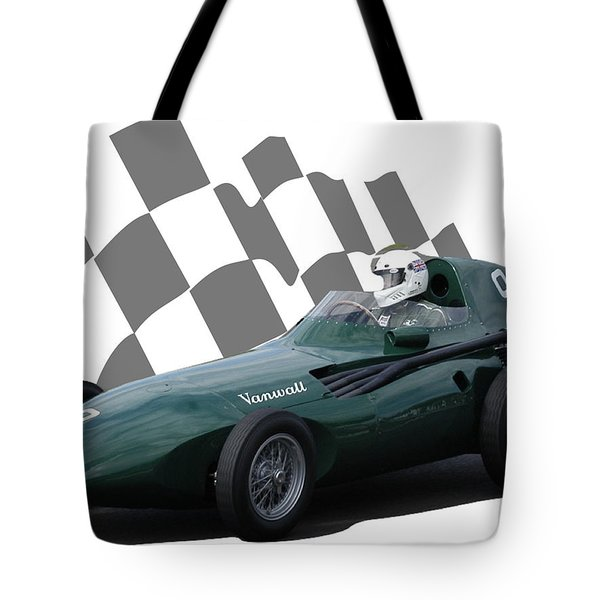 Vintage Racing Car And Flag 5 Tote Bag