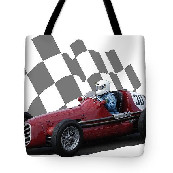 Vintage Racing Car And Flag 6 Tote Bag