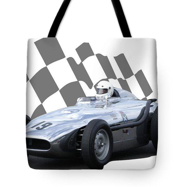 Vintage Racing Car And Flag 7 Tote Bag