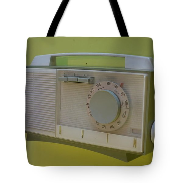 Vintage Radio With Lime Green Background Tote Bag