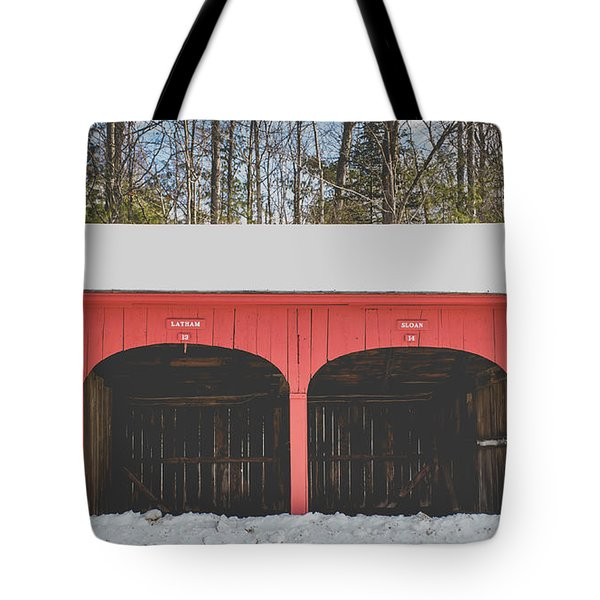 Tote Bag featuring the photograph Vintage Red Carriage Barn Lyme by Edward Fielding