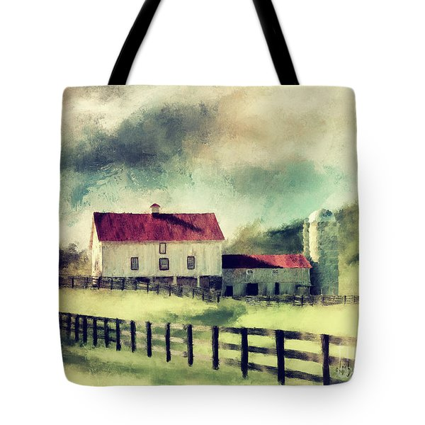 Tote Bag featuring the digital art Vintage Red Roof Barn by Lois Bryan