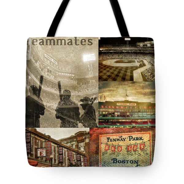 Vintage Red Sox Fenway Park Baseball Collage Tote Bag