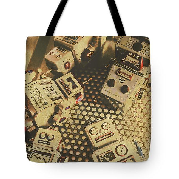 Vintage Robot Charging Zone Tote Bag