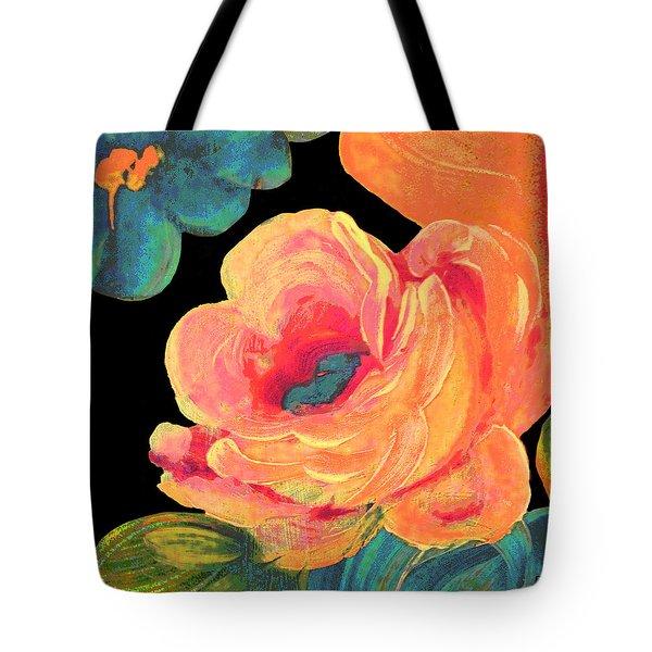 Tote Bag featuring the painting Vintage Rose On Black by Lisa Weedn