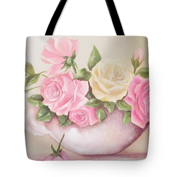 Vintage Roses Shabby Chic Roses Painting Print Tote Bag