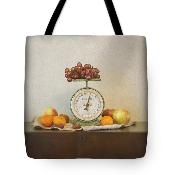 Vintage Scale And Fruits Painting Tote Bag