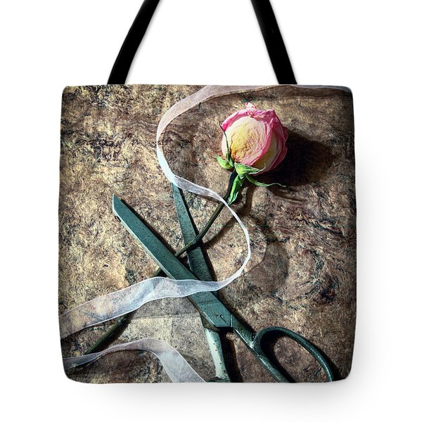 Vintage Scissors, Dried Pink Rose And Ribbon Tote Bag