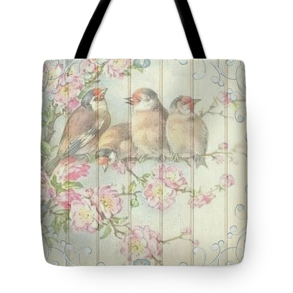 Vintage Shabby Chic Floral Faded Birds Design Tote Bag