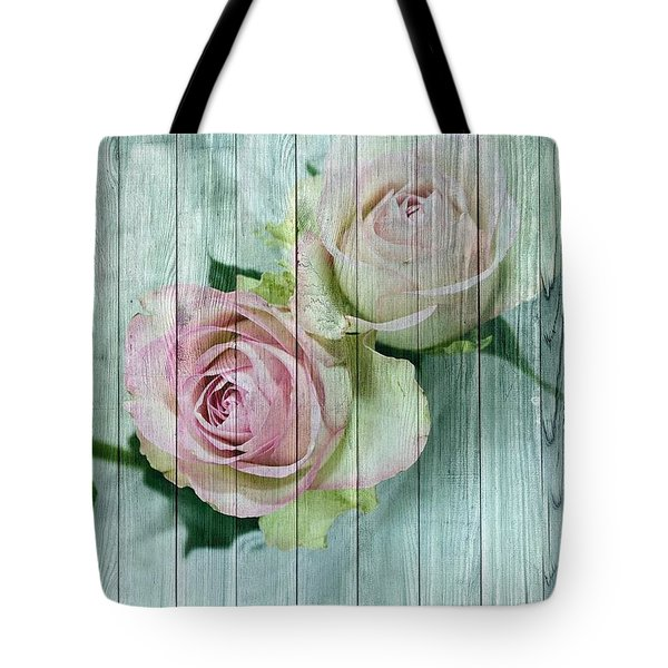 Vintage Shabby Chic Pink Roses On Wood Tote Bag