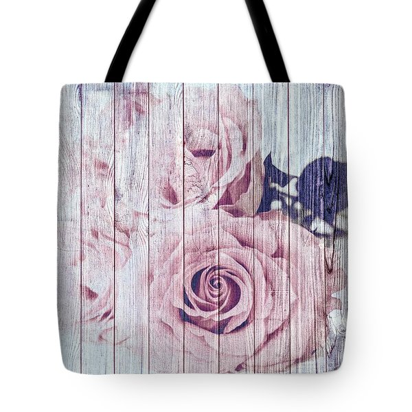 Vintage Shabby Chic Dusky Pink Roses On Blue Wood Effect Background Tote Bag