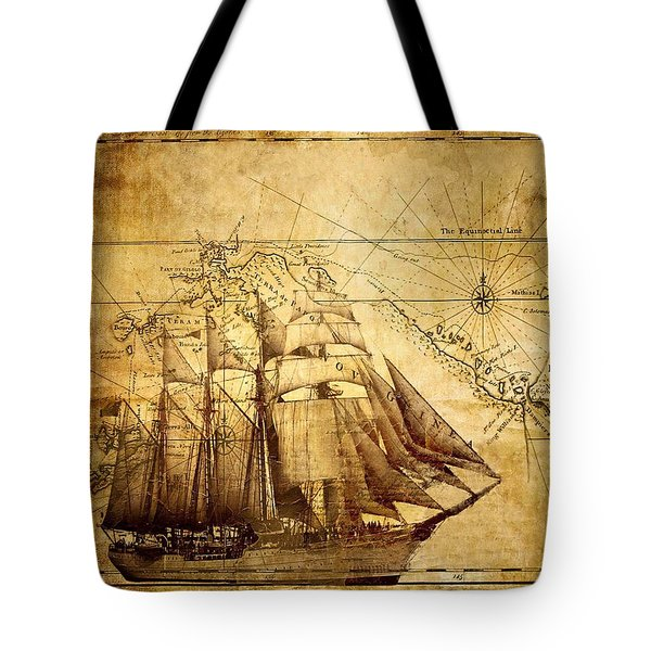 Vintage Ship Map Tote Bag