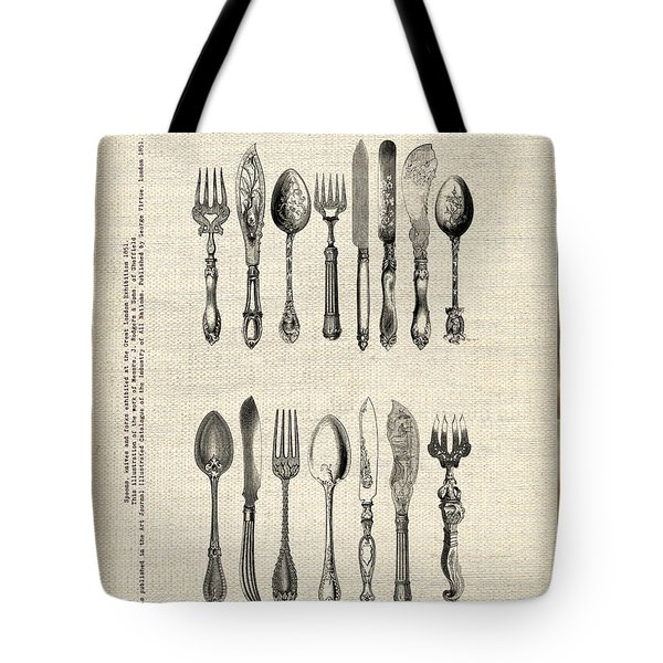Tote Bag featuring the drawing Vintage Silverware by Ariadna De Raadt