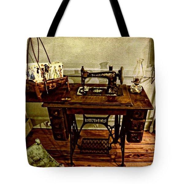 Vintage Singer Sewing Machine Tote Bag by Judy Vincent
