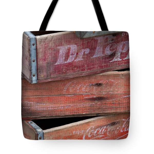 Tote Bag featuring the photograph Vintage Soda Crates by Art Block Collections