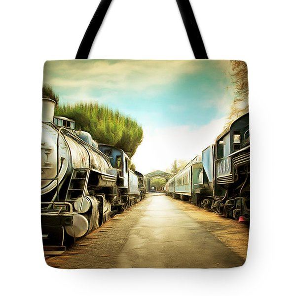 Vintage Steam Locomotive 5d29143brun Tote Bag by Home Decor