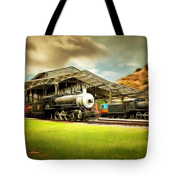 Vintage Steam Locomotive 5d29279brun Tote Bag by Home Decor