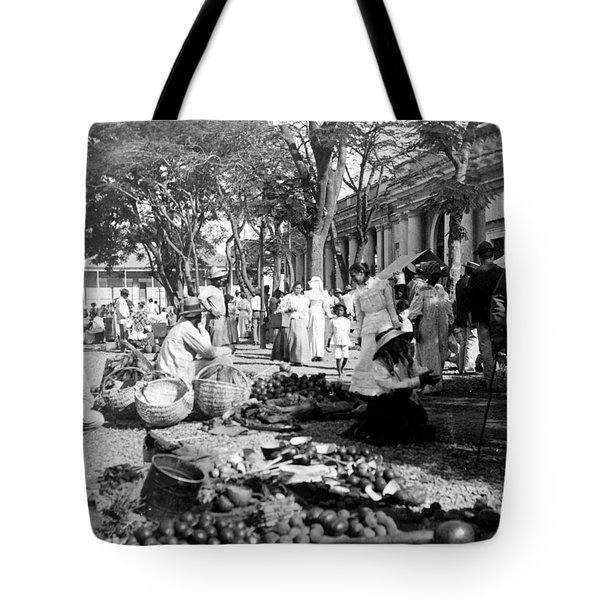 Vintage Street Scene In Ponce - Puerto Rico - C 1899 Tote Bag by International  Images