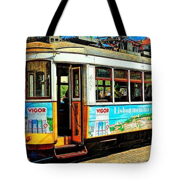 Vintage Street Tram In Lisbon Tote Bag