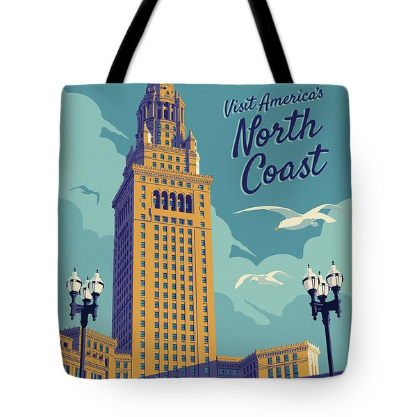 Cleveland Poster - Vintage Style Travel  Tote Bag