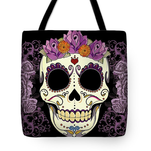 Vintage Sugar Skull And Roses Tote Bag