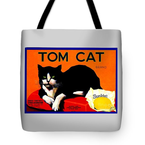 Vintage Sunkist Tom Cat Tote Bag by Peter Gumaer Ogden